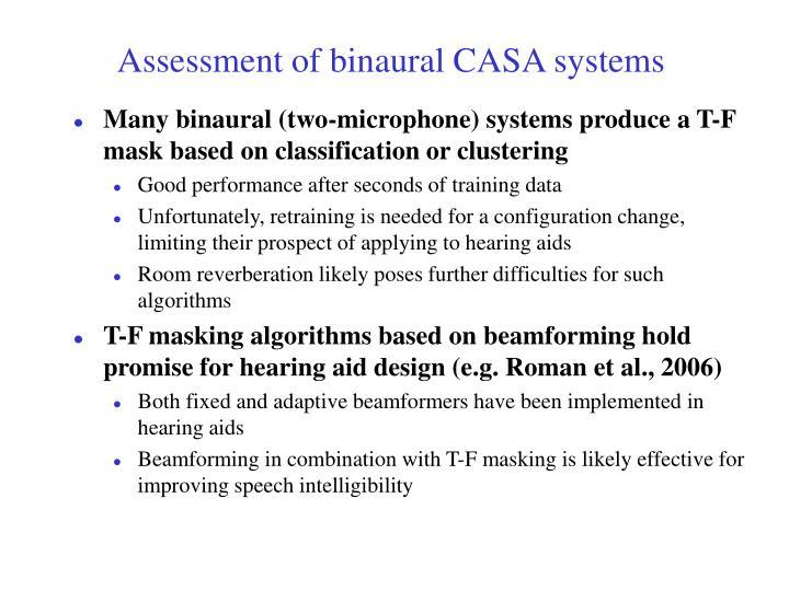 Assessment of binaural CASA systems