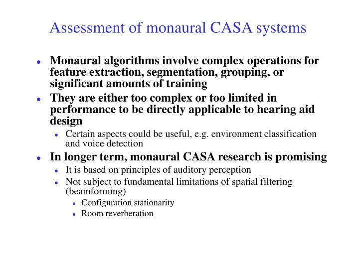 Assessment of monaural CASA systems