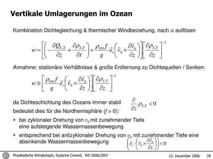 Vertikale Umlagerungen im Ozean