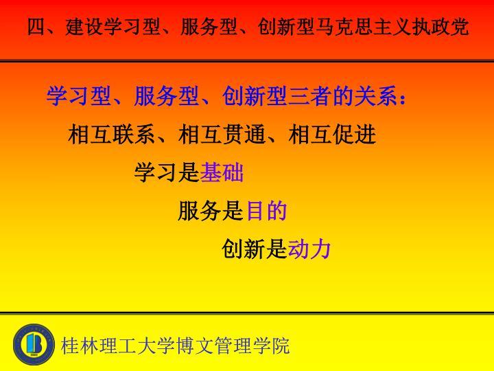 四、建设学习型、服务型、创新型马克思主义执政党