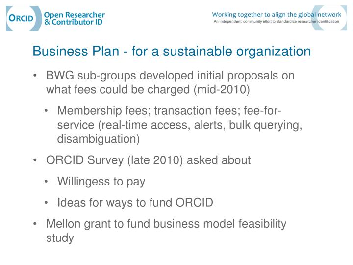 Business Plan - for a sustainable organization