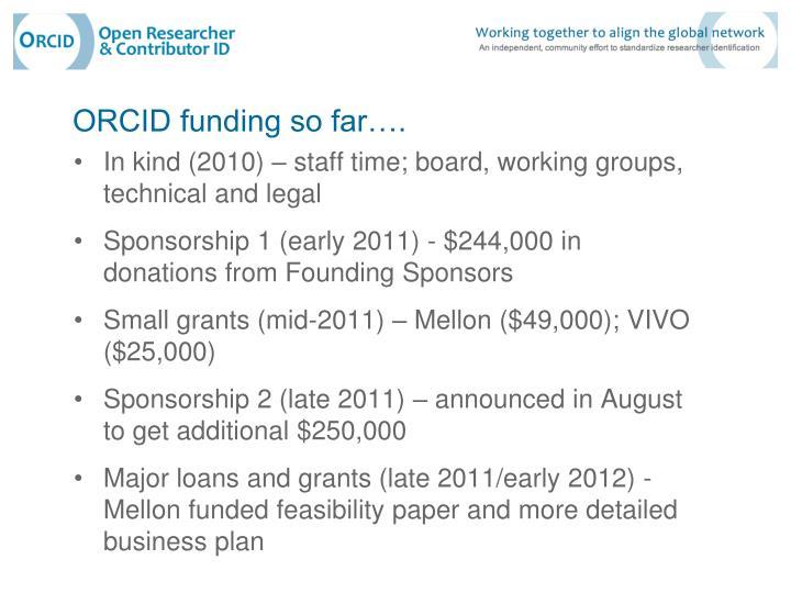 ORCID funding so far….