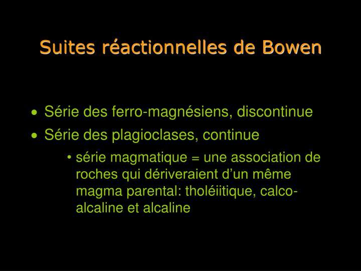 Suites réactionnelles de Bowen