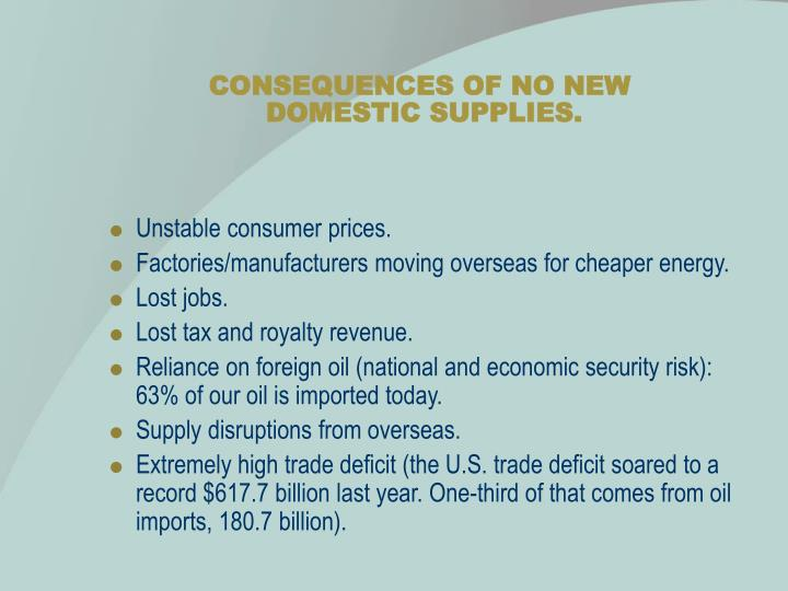 Consequences of no new domestic supplies
