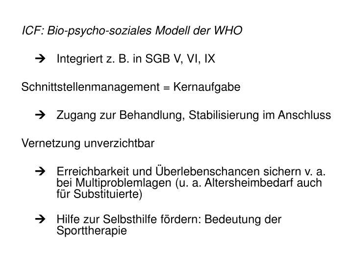ICF: Bio-psycho-soziales Modell der WHO