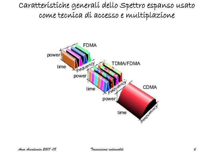Caratteristiche generali dello Spettro espanso usato come tecnica di accesso e multiplazione