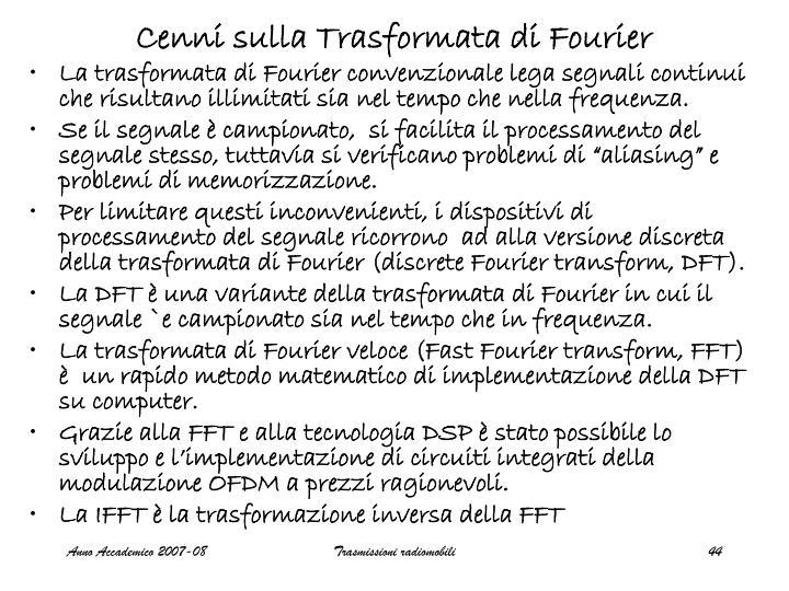 Cenni sulla Trasformata di Fourier
