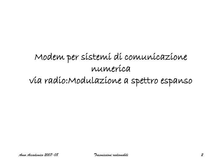 Modem per sistemi di comunicazione numerica