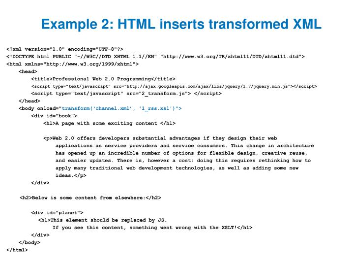 Example 2: HTML inserts transformed XML