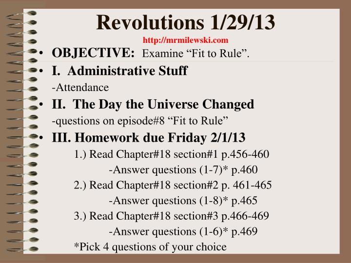 Revolutions 1/29/13