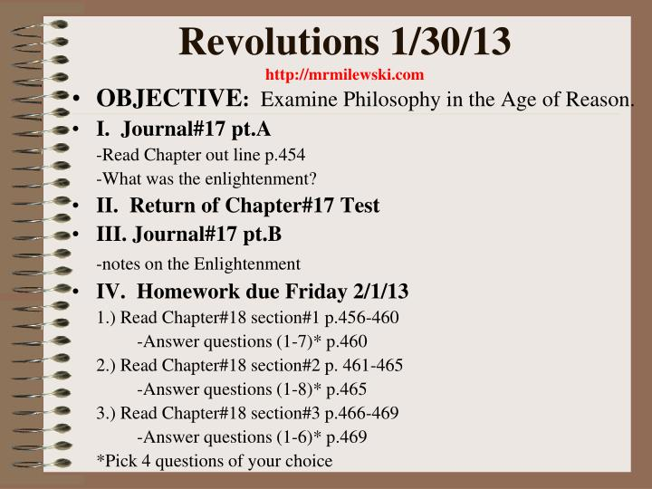 Revolutions 1/30/13