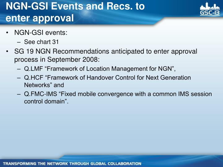 NGN-GSI Events and