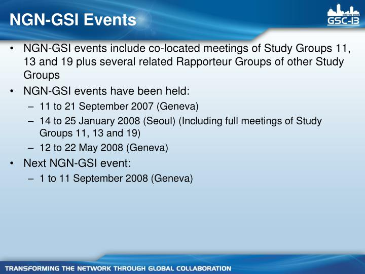 NGN-GSI Events