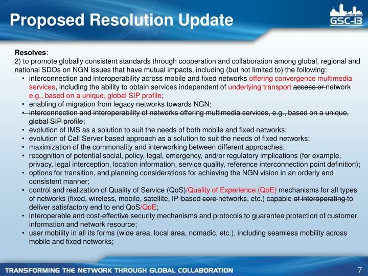 Proposed Resolution Update
