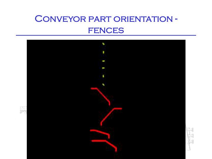 Conveyor part orientation - fences