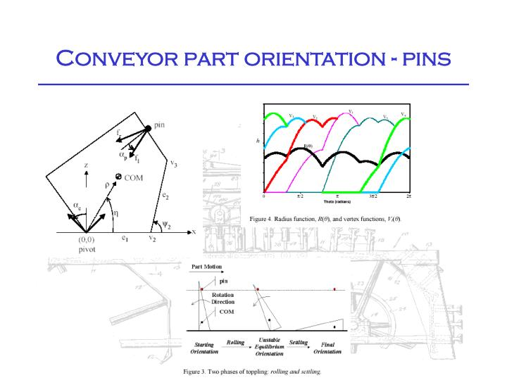 Conveyor part orientation - pins