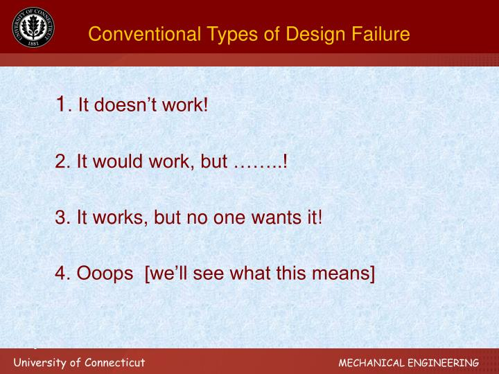 Conventional Types of Design Failure