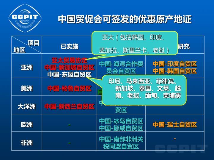 中国贸促会可签发的优惠原产地证