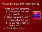 reading pets and responsibility