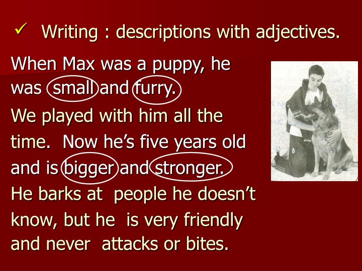 Writing : descriptions with adjectives.