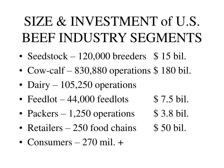 SIZE & INVESTMENT of U.S. BEEF INDUSTRY SEGMENTS