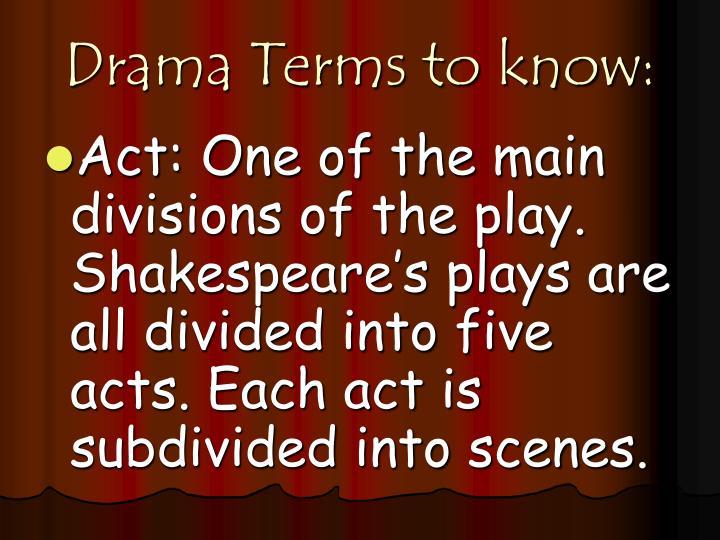 Drama Terms to know: