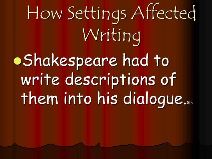 How Settings Affected Writing