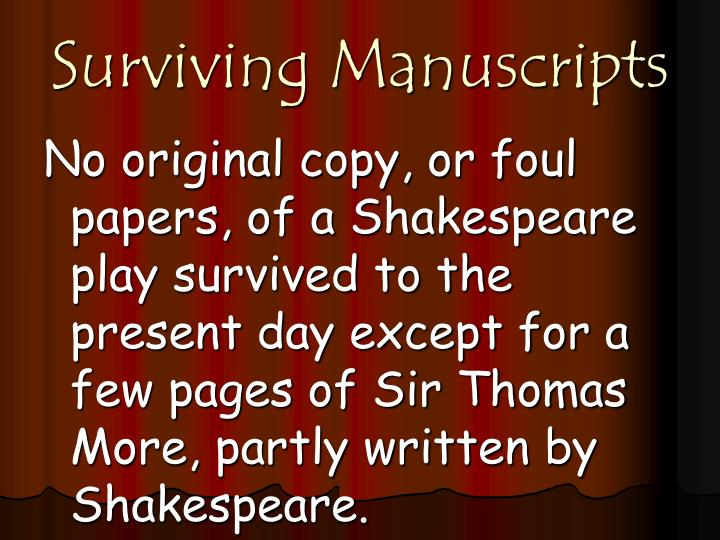 Surviving Manuscripts
