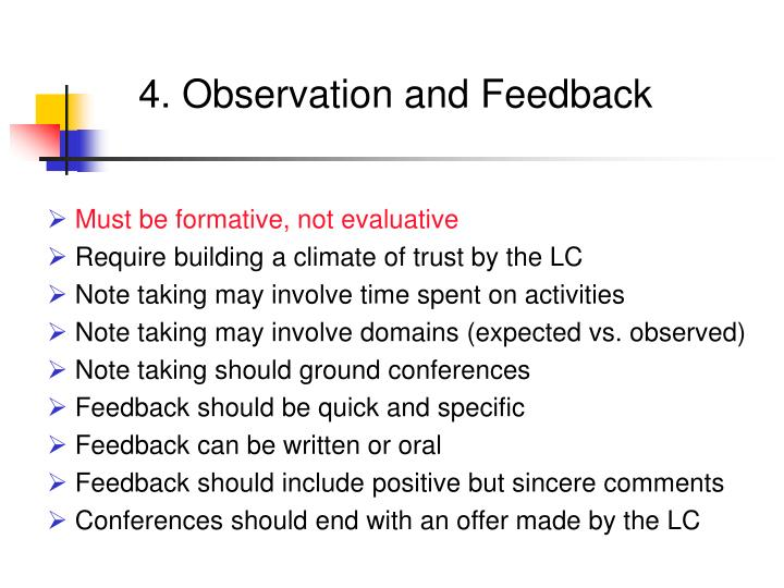 4. Observation and Feedback