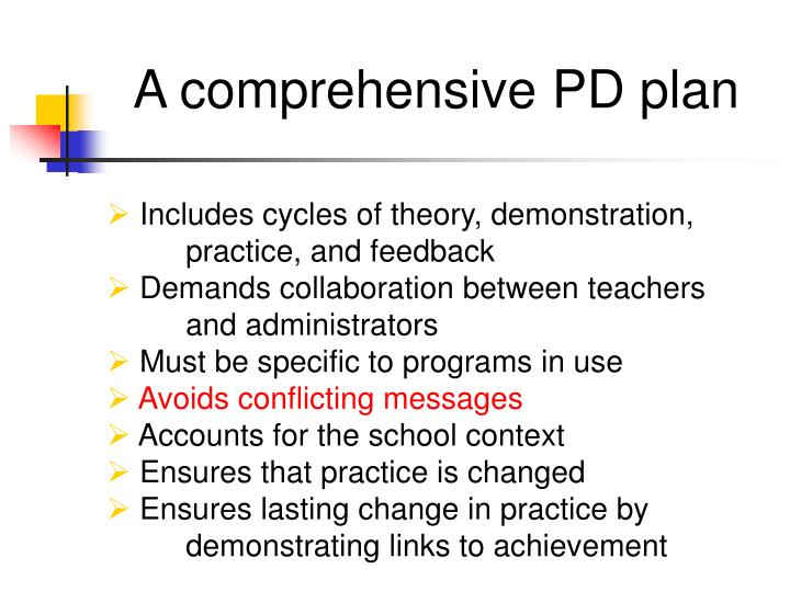 A comprehensive PD plan
