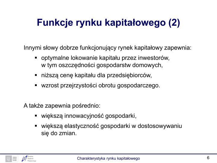 Funkcje rynku kapitałowego (2)