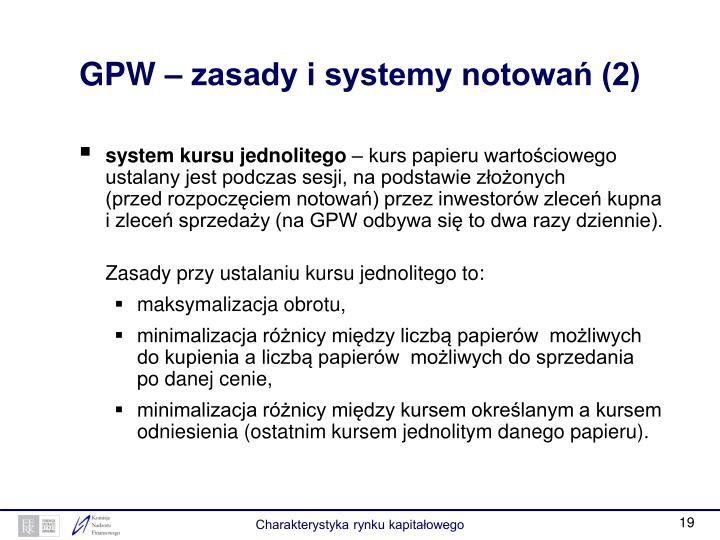 GPW – zasady i systemy notowań (2)