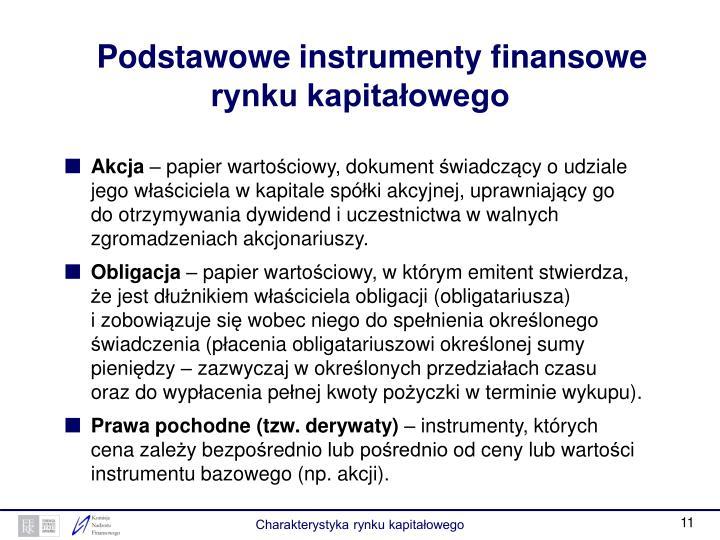 Podstawowe instrumenty finansowe