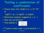 testing a combination of coefficients