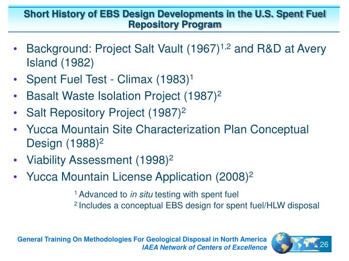 Short History of EBS Design Developments in the U.S. Spent Fuel Repository Program