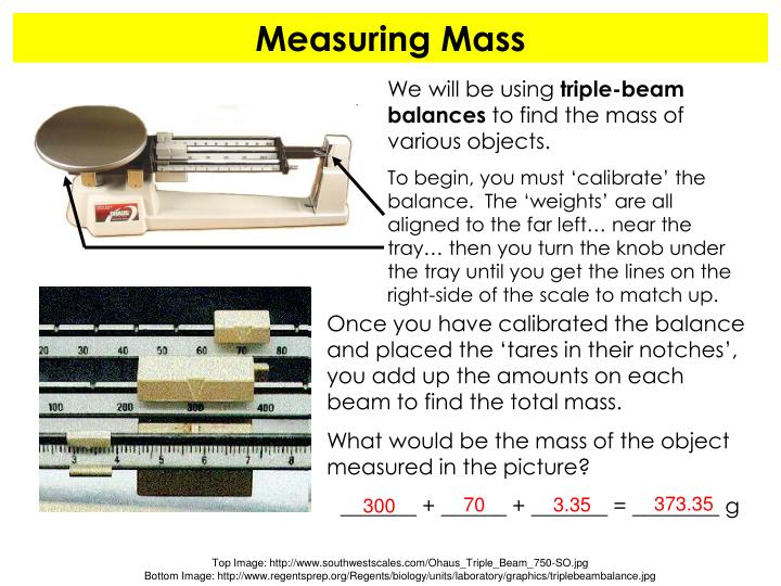 Once you have calibrated the balance and placed the 'tares in their notches', you add up the amounts on each beam to find the total mass.