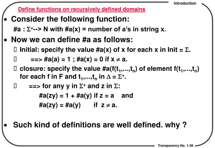 Define functions on recursively defined domains