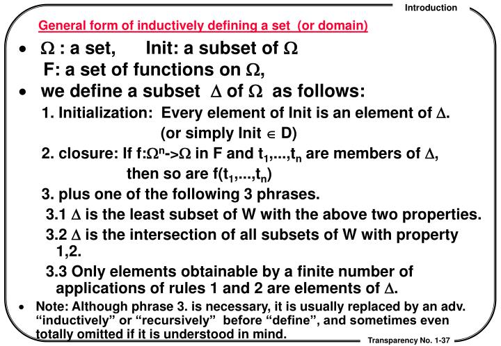 General form of inductively defining a set  (or domain)