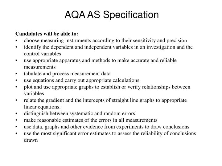 Aqa as specification