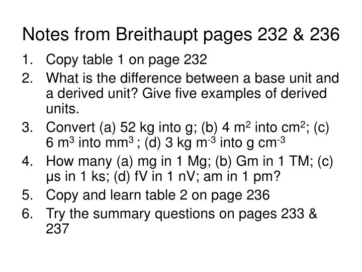 Notes from Breithaupt pages 232 & 236