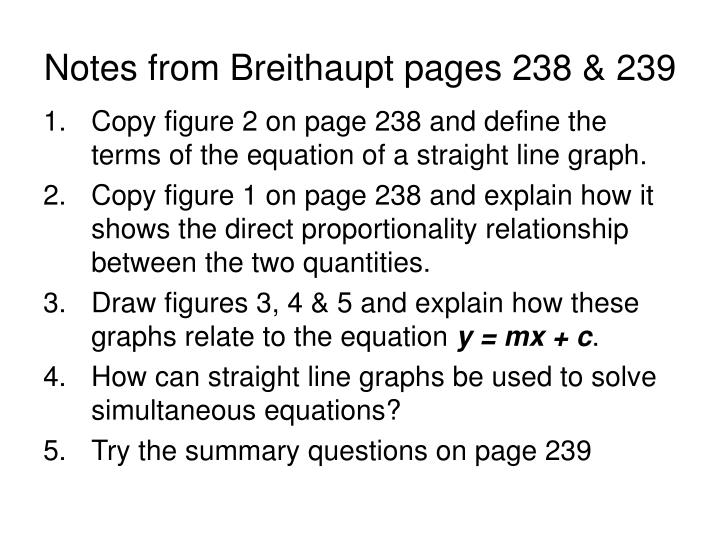 Notes from Breithaupt pages 238 & 239