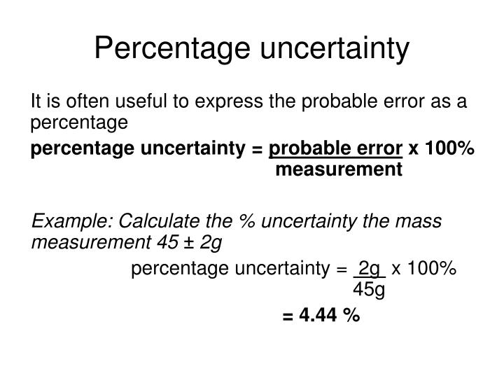 Percentage uncertainty