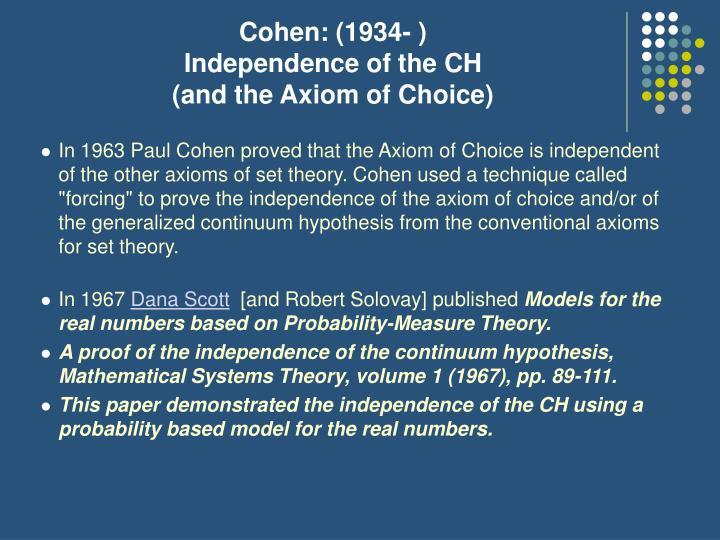 Cohen: (1934- )