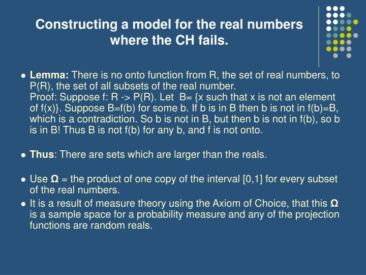 Constructing a model for the real numbers where the CH fails.