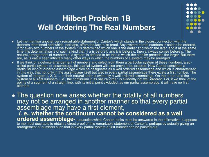 Hilbert Problem 1B