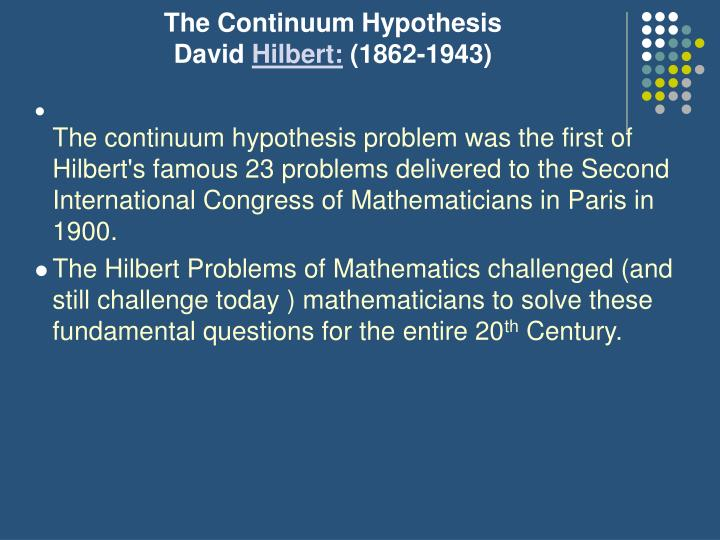 The Continuum Hypothesis