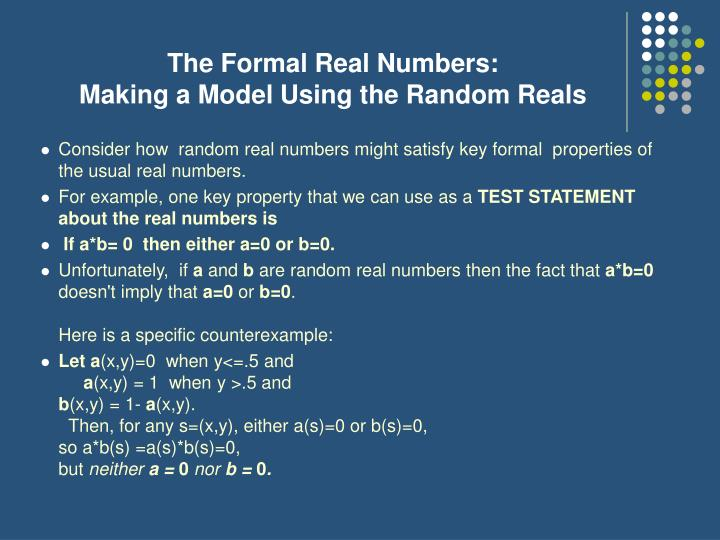 The Formal Real Numbers: