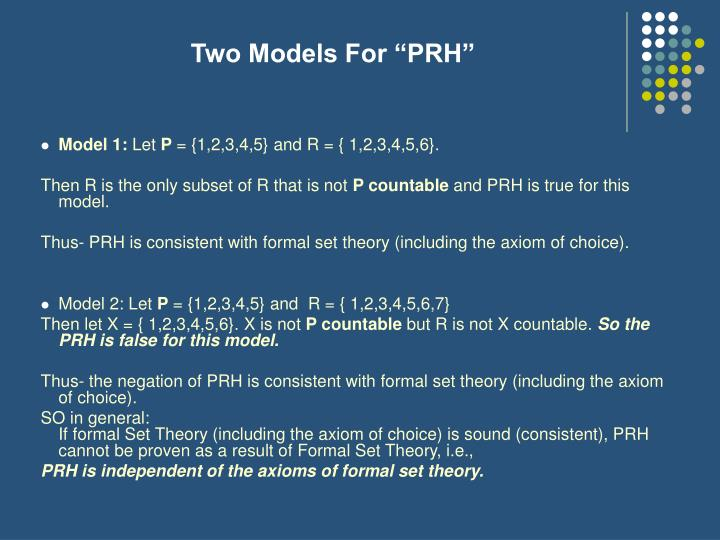 "Two Models For ""PRH"""