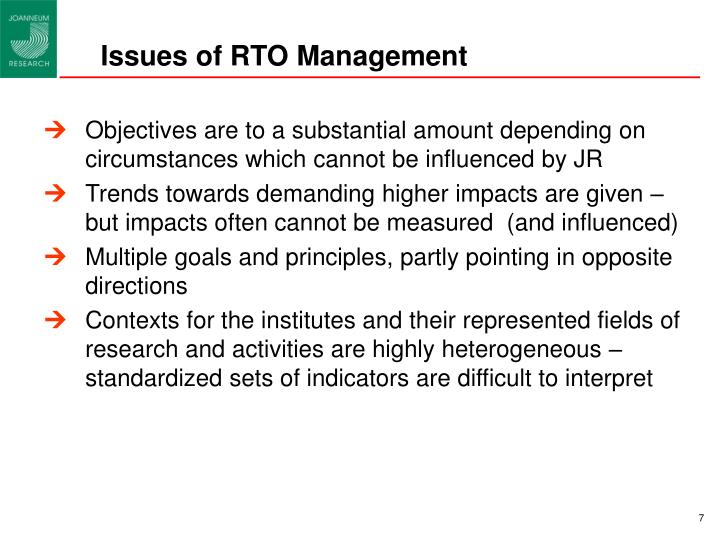Issues of RTO Management