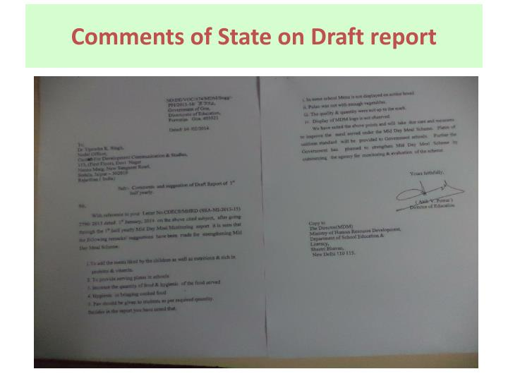Comments of State on Draft report